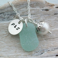 Personalised Scottish Sea Glass and Sterling Silver Initial & Date Necklace