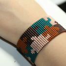 Handmade Beads Puzzle Bracelet, Brown and Teal Toho Beads Bracelet