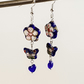 Blue Cloisonne enamel flower and Czech glass earrings with blue butterfly