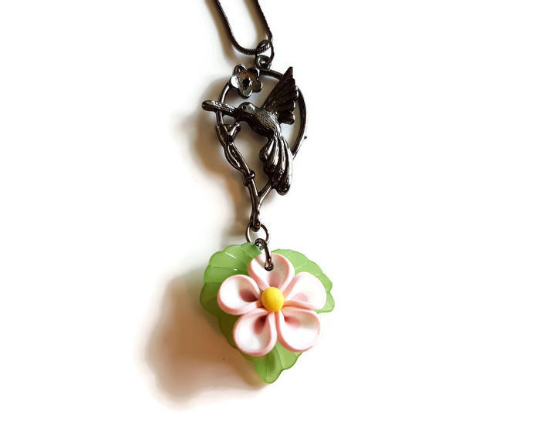 Hummingbird and flower necklace
