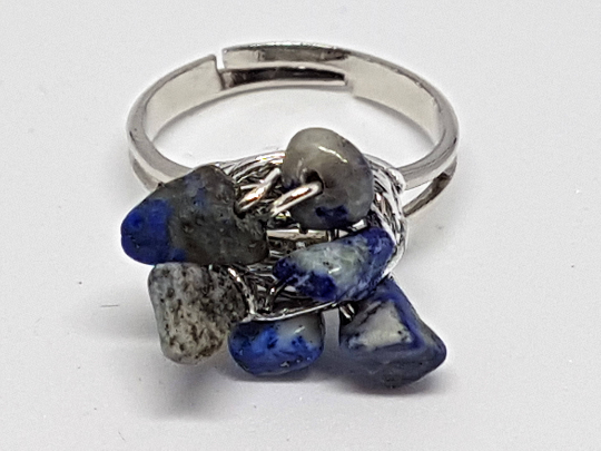 Adjustable Lapis Lazuli gemstone ring