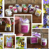 Personalised Mini Favour Candles- Wedding, Bridesmaid, Hen Party, Baby Shower,