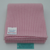 Pure Cashmere Knitted Scarf - Wide Fine Rib Design - Light Pink16 x170cm