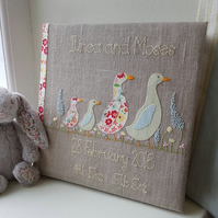 Personalised new baby album - twin ducks