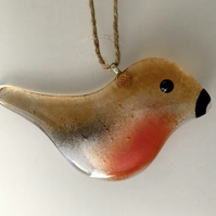 Glass Robin Hanging