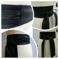 Black Leather Obi Belt - Double Wrap - Sash Belt