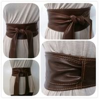 Brown Leather Obi Belt - Double Wrap - Sash Belt