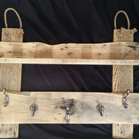Handmade Coat Rack in Rustic Wood with 5 Hooks and Shelf (100%) Recycled Wood