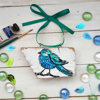 Blue Bird, driftwood art