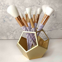 Geometric Make up brush pot, Make up brush holder, Metallic, Copper 3D printed