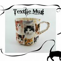 Textile Mug-Cats Faces---12 POUNDS