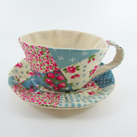 Textile Teacup Tidy-Patchwork Print Blue