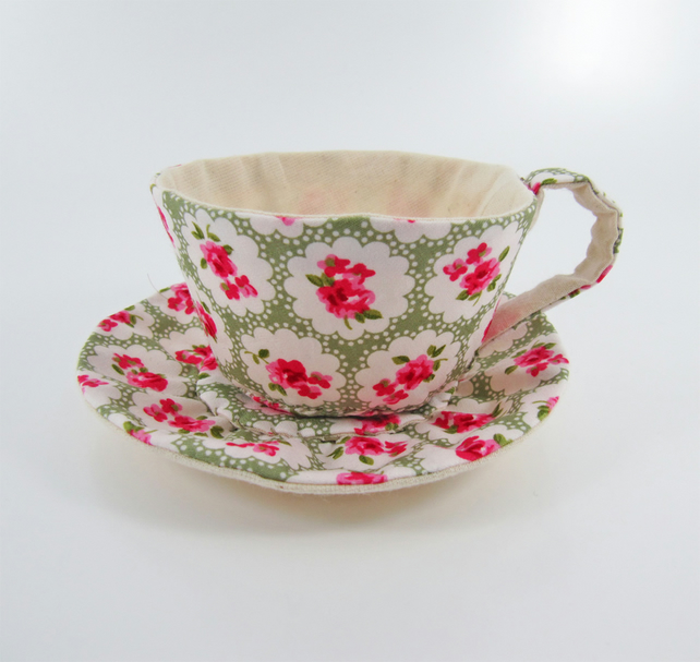 Reserved-Textile Teacup Tidy- Avocado Green Floral