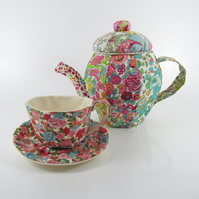 Reserved-Liberty Textile Teapot and Teacup Flutter Flowers