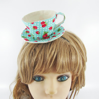 Teacup Fascinator-Strawberry Spots Turquoise Green