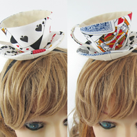 RESERVED for Jaimie-Teacup Fascinator-Playing cards