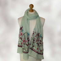 Women's Paisly and Flower Embroidered Scarf, Shawl, Wrap  in a Green Colour