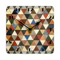 Harlequin square wall clock Melamine 7 inches or 180mm square