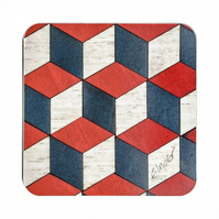 "4 or 6 geometric coasters10 cms or 4"" square. FREE UK SHIPPING"