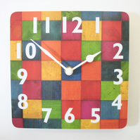 "Clock Small Square Melamine Wall Clock 7"" or 18 cms sq. FREE UK shipping"