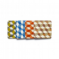 4 assorted coasters. 10cm or 4 inch square. FREE UK SHIPPING