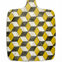 Chopping Board melamine cheese board retro yellow and grey