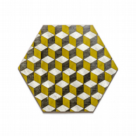 6 mustard grey table mats melamine hexagon shape heat resistant 140