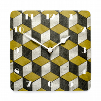 Mustard grey wall clock 180mm square or 7 inches approx Melamine