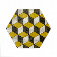 4 or 6 retro design Hexagon coasters Melamine 115 x 100 x 3.2mm