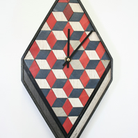 Red White Blue Wall Clock  Approx  353 x 180 x 28 mm or 14 x 7 x 3 inches