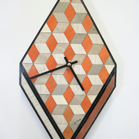 Orange wall clock wooden  Approx. size:  353 x 180 x 28 mm or 14 x 7 x 3 inches