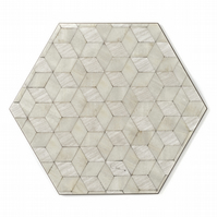 12 Place mats and Coasters Set Ivory pearl hexagon melamine heat resistant 160