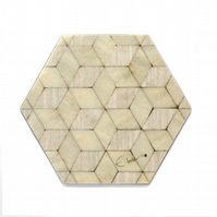 coasters set 4 or 6 hexagonal 115 x 100 x 3.2mm FREE UK shipping