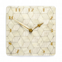 Small ivory wall clock 7 inch square or 18cms square