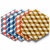 4 mixed colour place mats hexagonal heat resistant to 140 degrees