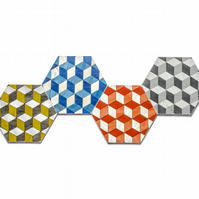 4 hexagon coasters assorted colours. FREE UK shipping