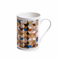 multi colour bone china mug 10 fluid oz or half pint capacity