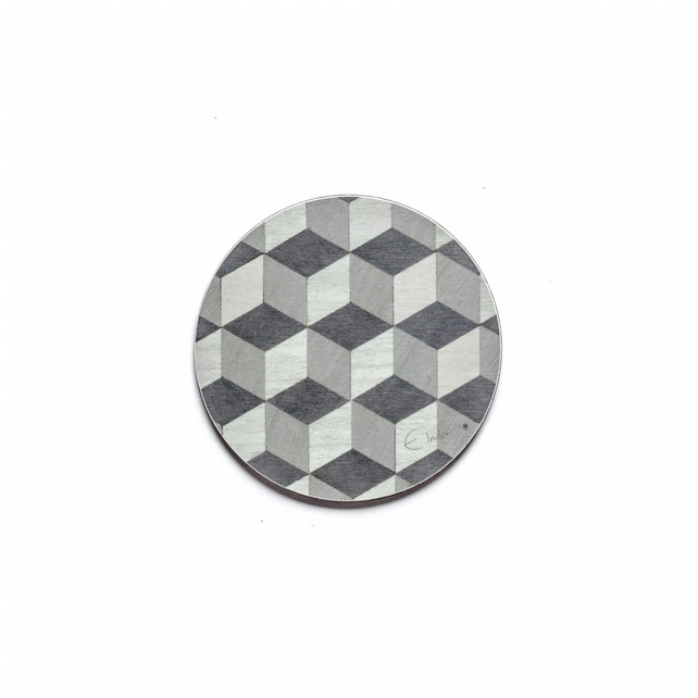 "Coasters set of  6 Round Grey Melamine. 4"" or 10 cms diameter.  FREE UK postage"