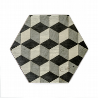 6 hexagon shaped coasters melamine