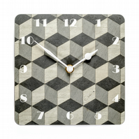 "Small grey wall clock 7"" or 18 cms square art deco design E Inder Designs"