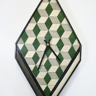 Green Grey Clock Wooden Handmade Tumbling Cubes Design