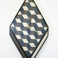 Blue Grey wall clock Wooden Diamond Shape