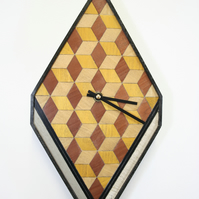 Tumbling cubes design clock Diamond Shaped yellow brown neutral wood  veneers