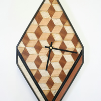 Wooden wall clock wooden  Approx. size:  353 x 180 x 28 mm or 14 x 7 x 3 inches