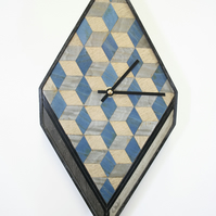 Blue grey wall clock diamond shaped Wooden