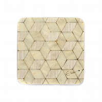 4 ivory coasters 100mm sq x 3.2mm Melamine coated easy to clean