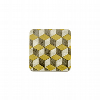 6 mustard grey coasters Square Melamine 100mm square x 3.2mm thick