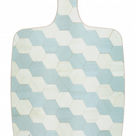 chopping board or cheese platter melamine in soft duck egg blue and pale grey