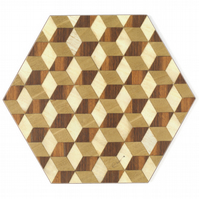 4 or 6 hexagon table mats in walnut brown ivory beige heat resistant 160 degrees