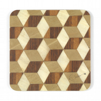 "6 Brown ivory beige coasters melamine 100 mm square x 3.2mm thick (or 4"" sq)"